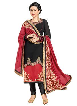 Karisma Kapoor Black N Red Layered Straight Pant Suit
