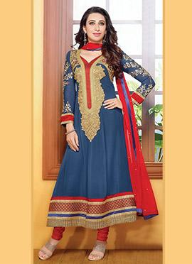 Karisma Kapoor Blue Georgette Anarkali Suit