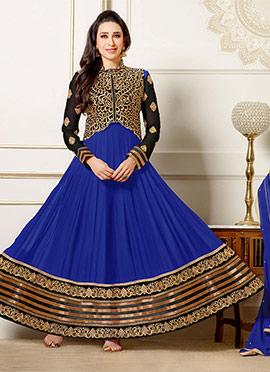 Karisma Kapoor Blue jacket Style Anarkali Suit