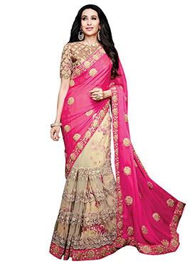 Karisma Kapoor Cream N Pink Lehenga Saree