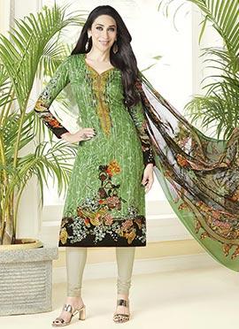 Karisma Kapoor Green Cotton Churidar Suit