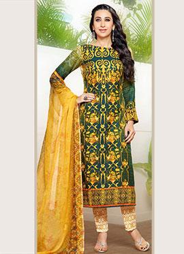 Karisma Kapoor Green Crepe Pakistani Lawn Suit