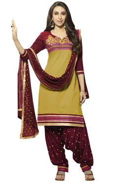 Karisma Kapoor Green Patiala Suit