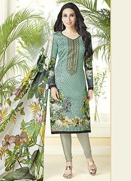 Karisma Kapoor Light Green Cotton Churidar Suit