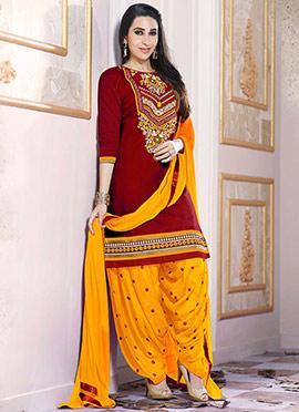 Karisma Kapoor Maroon Semi Salwar Suit