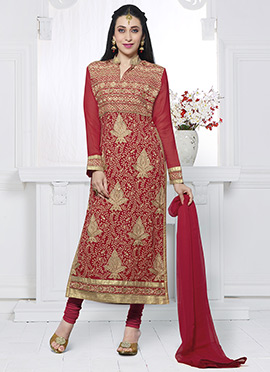 Karisma Kapoor Red Embroidered Straight Suit