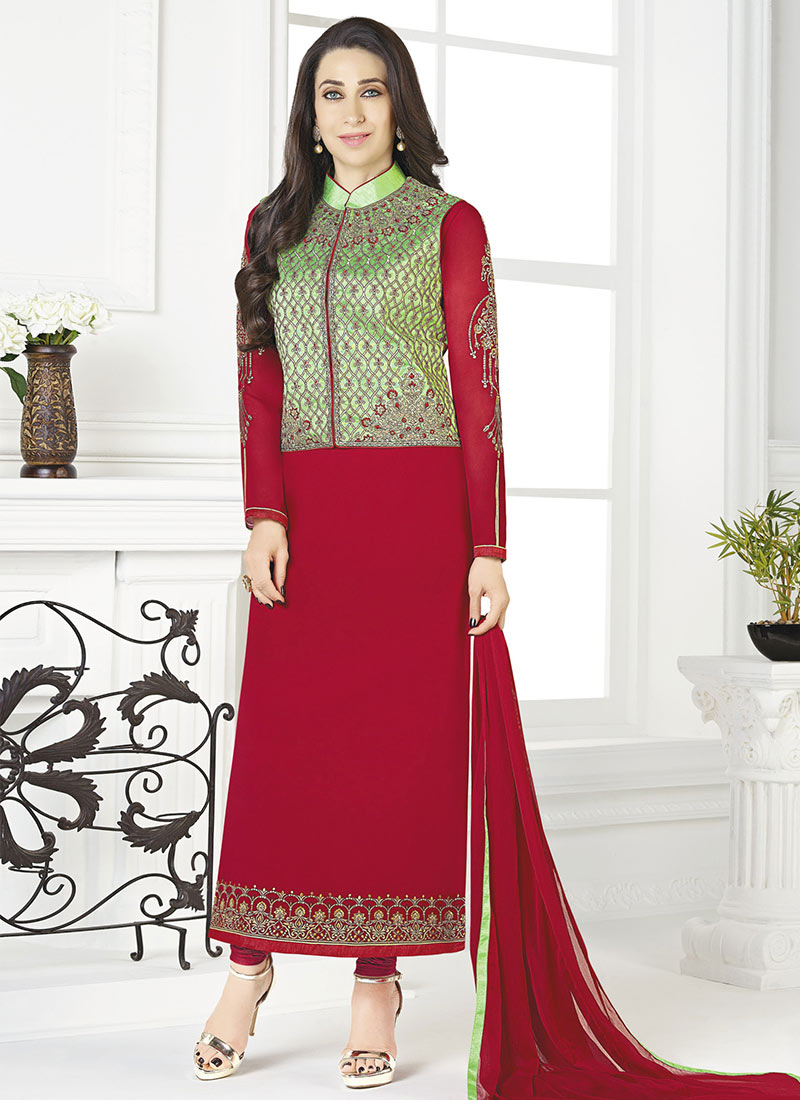 Buy Karisma Kapoor Red Jacket Style Straight Suit, Embroidered ...
