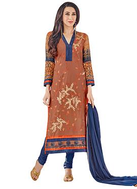 Karisma Kapoor Rust Embroidered Straight Suit