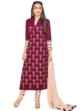 Karisma Kapoor Wine Embroidered Straight Suit