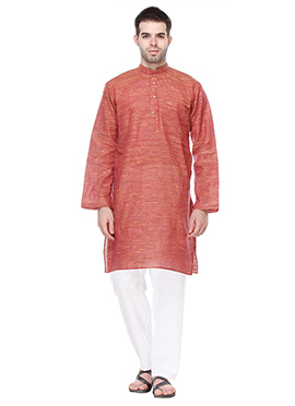 Khadi Cotton Rust Kurta