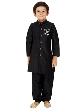 Kidology Black Kids Sherwani