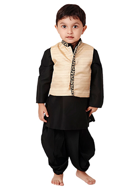 Kidology Black N Beige Ghazal Bandi Set