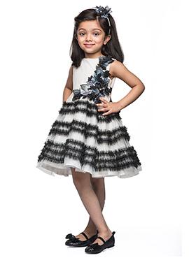 Kidology Black N White Taffeta Kids Dress