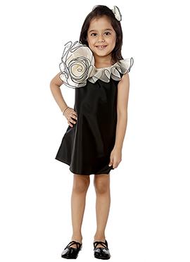 Kidology Black Taffeta Indowestern Dress