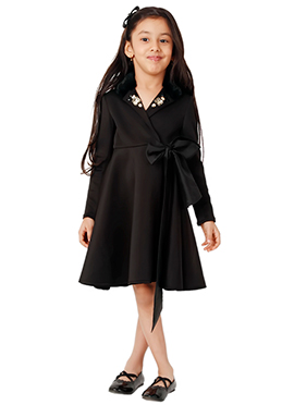 Kidology Black Tiffany Wrap Dress