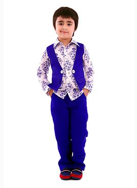 Kidology Blue N White Cotton Vest Pant Set