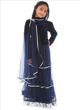 Kidology Blue Net Lehenga Choli
