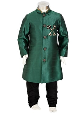 Kidology Bottle Green Kids Sherwani