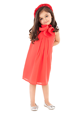 Kidology Coral Red Kids Lily Dress