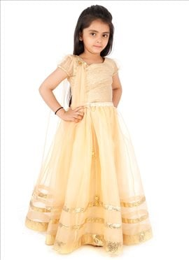 Kidology Cream Net A Line Lehenga Choli