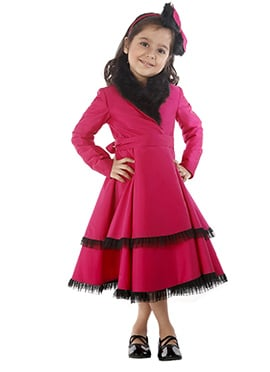 Kidology Dark Pink Taffeta Indowestern Dress