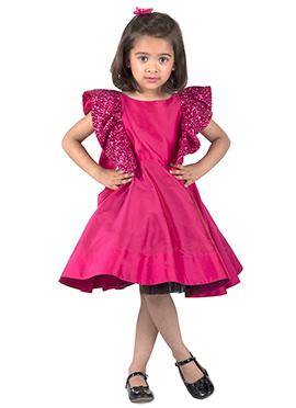 Kidology Dark Pink Taffeta Kids Dress