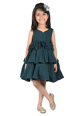 Kidology Dark Teal Crepe Kids Dress