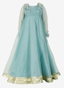Kidology Dusky Blue Kids Anarkali Gown