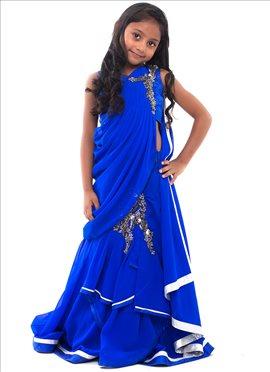 Kidology Gaurav Gupta Blue Gown