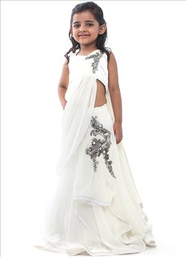 Kidology Gaurav Gupta Off White Gown