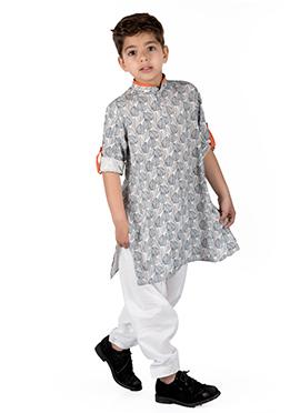 Kidology Grey Cotton Rayon Kids Kurta Pyjama