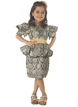 Kidology Grey N Gold Indowestern Dress