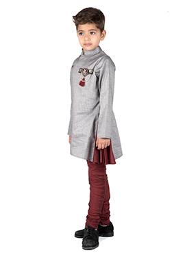 Kidology Grey N Maroon Kids Kurta Pyjama