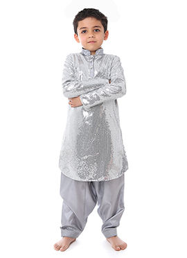 Kidology Grey Sequin Fabric Boys Kurta Pyjama
