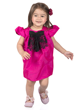 Kidology Hot Pink Taffeta Kids Dress