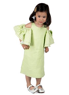 Kidology Light Green Linen Kids Dress