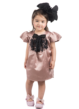 Kidology Light Mauve Satin Kids Dress