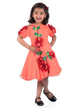 Kidology Light Orange Georgette Kids Dress