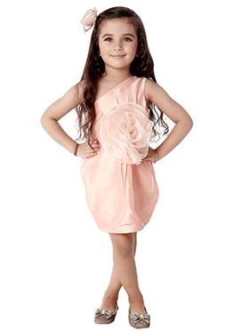 Kidology Light Peach Taffeta Indowestern Dress