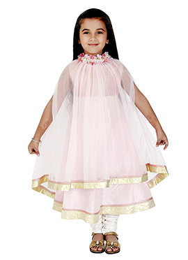 Kidology Light Pink Kids Cape Anarkali Suit
