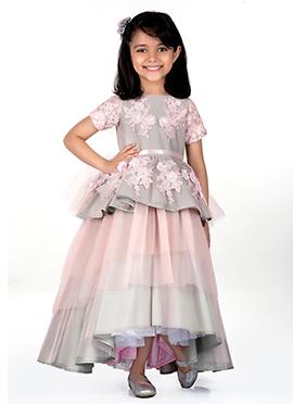 Kidology Light Pink N Grey Taffeta Net Kids Gown
