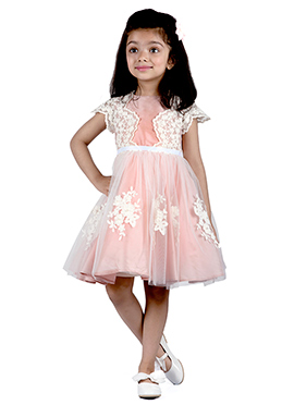 Kidology Light Pink Taffeta Net Kids Dress