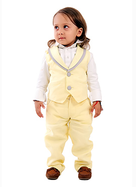 Kidology Light Yellow Linen Boys Vest Set