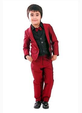 Kidology Maroon Taffeta Boys  Suits