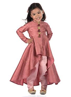 Kidology Mauve Art Silk Kids Salwar