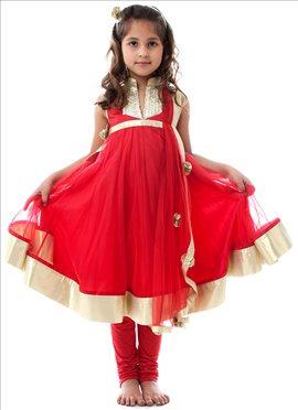 Kidology Maya Nocon Red Net Anarkali Suit