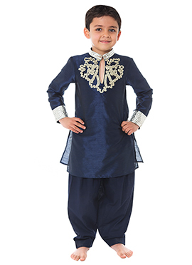 Kidology Navy Blue Kurta Pyjama