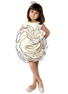 Kidology Off White Taffeta Indowestern Dress