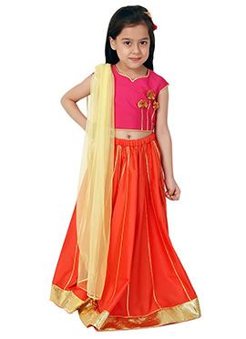 Kidology Orange Mini Chakri Lehenga