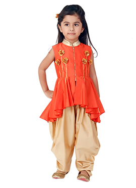 Kidology Orange Mini Chakri Peplum Dhoti